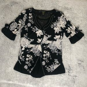 DESIGN WORKS Rhinestone Floral Blouse